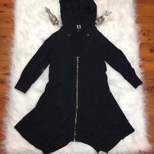 XCVI Black Tunic Length Hooded Jacket Size XS